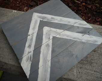 "7.5"" x 7.5"" Distressed Gray and White Chevron Ready to Hang - Wood Sign"