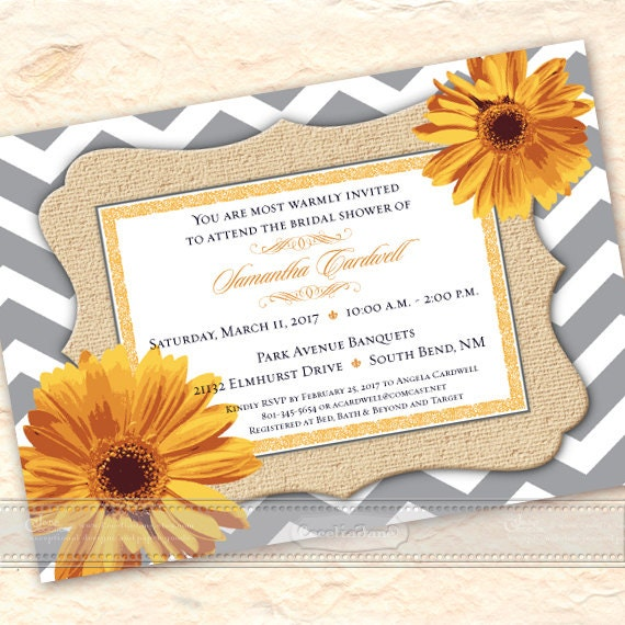 bridal shower invitations, chevron bridal shower, gerber daisy bridal shower, wedding shower invitation, bridal shower package, IN542