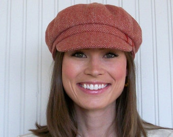 Womens Newsboy Hat, Newsboy Cap, Terracotta Wool Herringbone, Womens Hat, Winter Hat, MADE TO ORDER