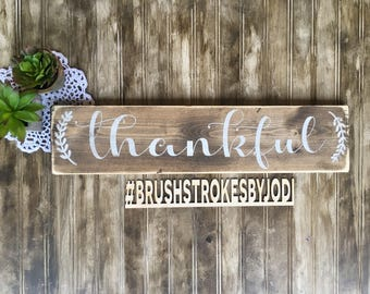 Thankful, thanksgiving sign, fall sign, fall decor, thanksgiving decor, wooden signs, wood sign, rustic signs, handpainted sign, rustic