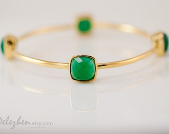Green Onyx Bangle-  Green Onyx Bracelet - Gemstone Bangles - Stacking Bangles - Gold Bracelets