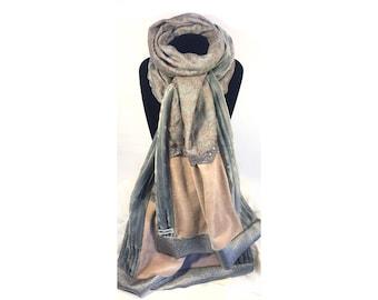Pink grey & beige Patchwork scarf