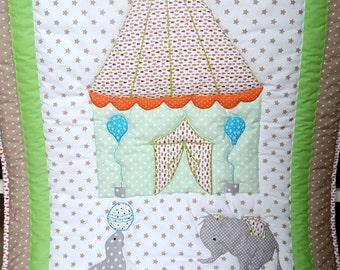 Elephant Crib Bedding - Elephant Nursery Bedding - Elephant Baby Quilt - Baby Boy Quilt - Personalised Baby Blanket - Baby Shower Gift