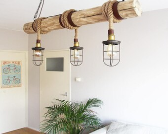 "Wooden pendant lamp, ""Rope Cage Chandler"", Bar lighting, industrial, minimalist lamp, Loft, (including 3 filaments)"