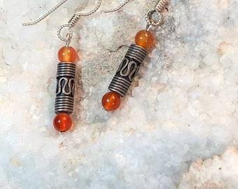 Carnelian Earrings,gemstone,earrings,jewelry,unique,natural,genuine,lewydesigns,gift for her,gift for wife,unique gift for wife,unique gift