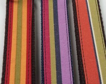 Handmade Vertical Stripe Fabric Key Fob - Key Chain - Key Ring - Key Holder