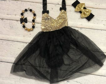 Black and gold first birthday outfit black and gold smash cake outfit birthday tutu first birthday outfit first birthday tutu