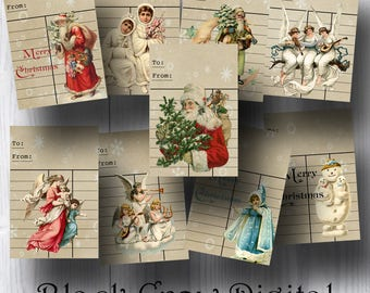 Library Cards Christmas Gift Tags; Vintage Santas, Angels, Children; Gift Labels; Printable Instant Download Collage Sheet Scrapbooking