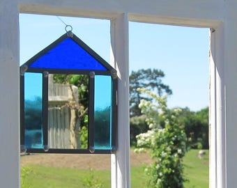 Stained glass beach hut mirror