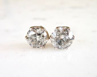 Salt and Pepper Diamond Studs, Diamond Crown Earrings, Grey Diamond Studs, 14 k White Gold, Crown Setting, Everyday Wear, Unique Diamonds