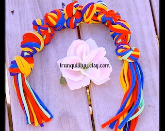 Dog Chew Toy , Up cycle , Recycle , Rainbow ,Jersey Knit Med-Large, Doggie Chew Toy, Handmade By: Tranquilityy