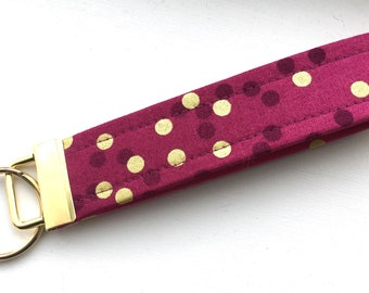 Ombré Magenta  Gold  Dots Key Chain Wristlet Key Fob Gold Colored Hardware Unique Wristlet Key Fob Ombre Confetti Fabric