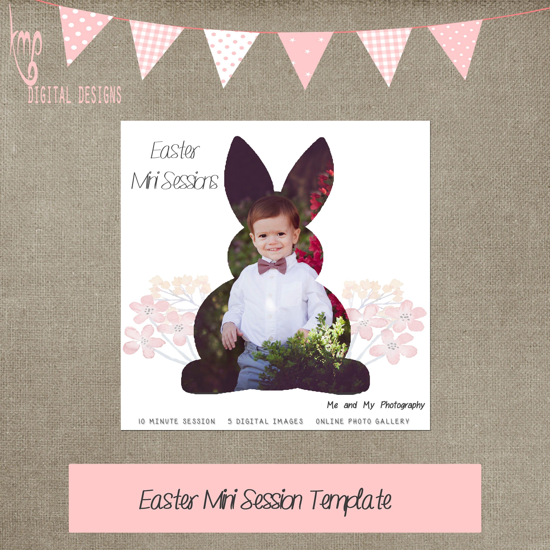Ostern Hase Mini Sitzung Vorlage Promo quadratische Flyer