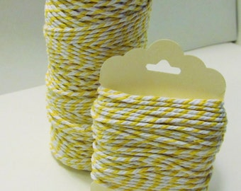 Yellow & White Baker's Twine - 15yds -  - 100% Cotton - 4 Ply - Packaging - Tag Hanger - Bow Making