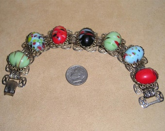 Vintage Multi Colored Glass Cabochon Book Chain Bracelet 1950's Jewelry H41