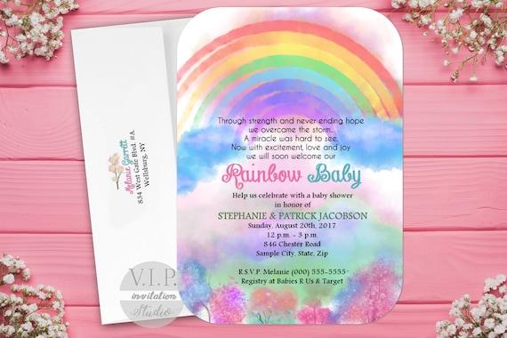 Rainbow Baby Shower Invitation Rainbow Baby Invitation