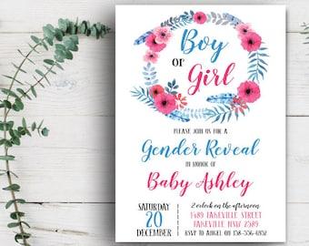 Gender reveal invitation Etsy