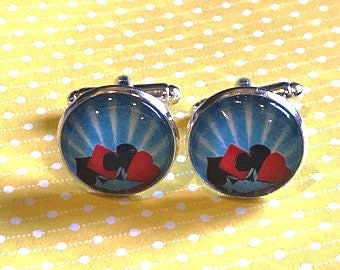 Playing card suits cufflinks - 16mm