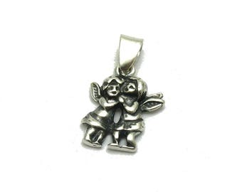 PE001181 Sterling silver pendant  solid 925 charm two Angels