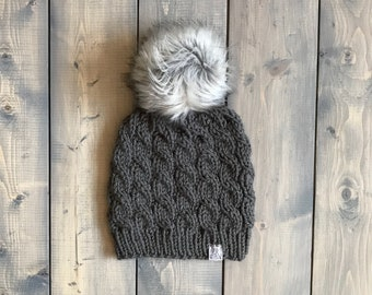 Adult Cable Knit Winter Hat w/ faux fur pom pom (gray)