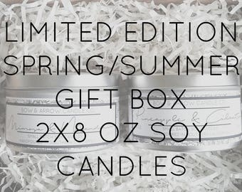 Pick Two 8 oz Spring & Summer Soy Candle Tins Gift Box   Bulk Soy Candle   Scented Soy Candles   Candle Gift Set   Gift Idea   Soy Candles