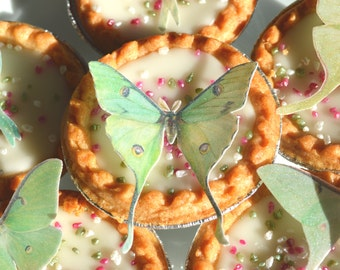 Edible Luna Moths Butterflies 3D Wafer Paper Fantasy Wedding Cake Decoration Lime Green Fairy Actias Moth Birthday Cookie Cupcake Topper RTD