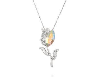 Tulip Necklace  - Swarovski Rainbow Stone