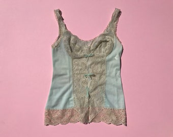 Vintage 90's Mint Green with Beige Lace Camisole Tank