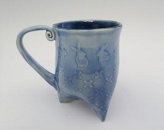 Ceramic Coffee Mug - Pottery Mug - Stoneware Mug - Ceramic Tea Cup - Tri-foot Mug - Handbuilt Mug - Bunny Texture - Blue Glaze -Approx 12 oz