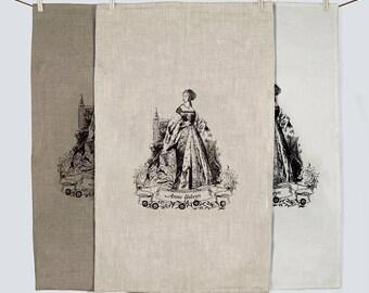 Anne Boleyn 100% linen screen printed tea towel - SALE