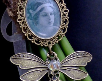 Antique Bronze Butterfly, Bridal Bouquet Photo Charm with your own personalised photo, Memorial Charm, 25x18 Photo