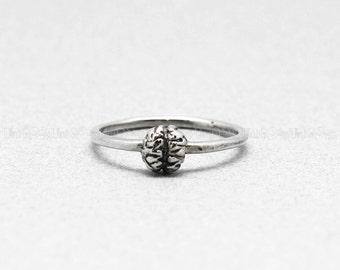 Brain 925 sterling silver Ring, Unique 925 silver Brain jewelry