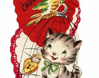 Vintage Valentine Digital Download Kitty Cat Bird Cage
