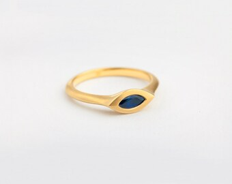 Blue Sapphire Ring, Saphire Marquise Engagement Ring, Women's Sapphire Ring 18k Yellow Gold, Unique Ring September Birthstone