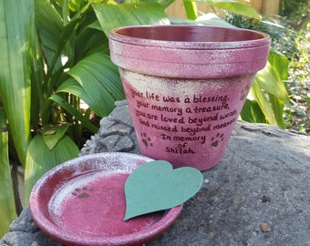 Pet Memorial Gifts - Painted Flower Pots - Dog Memorial - Cat Memorial - Pet Sympathy Gifts - Pet Memorial Planter