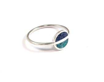 Turquoise Sterling Silver Ring, Minimal Ring, Saturn, Blue,  Modern, Contemporary, Saturn