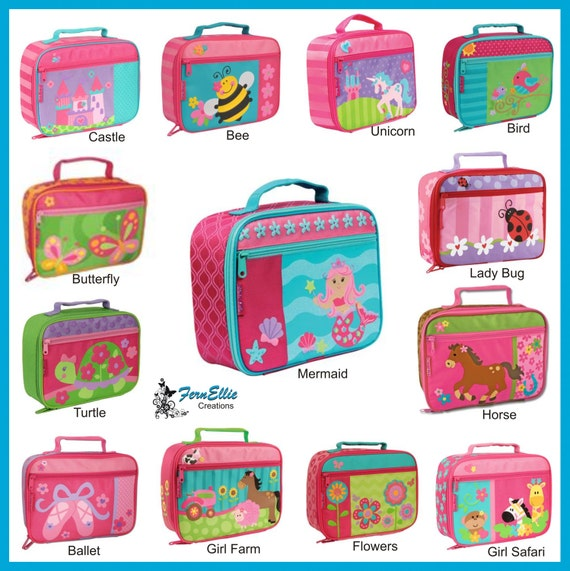 Personalized Lunch Box, Stephen Joseph, Monogrammed Lunch Box, Fox, Owl, Mermaid, Horse, Ballet, Flower, Unicorn, Castle, Princess, Ladybug.