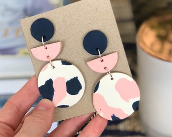 Baby pink, navy and white dangles