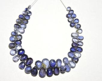 55 Pieces very Attractive Natural Iolite Faceted Rose Cut Pear shape Gemstone Beads Size 9X11 - 6X5 MM