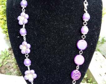 Necklace with hard and fimo stones