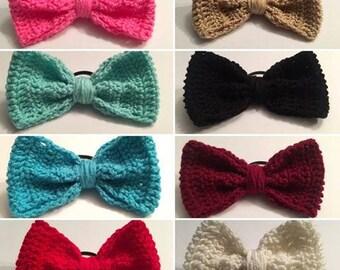 Large Crochet Bow Ponytail Holders