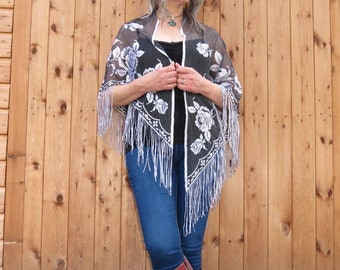 Vintage Fringed Piano Shawl with Embroidery Emmylou Harris Stevie Nicks Hippy Gypsy Style Black and Silver