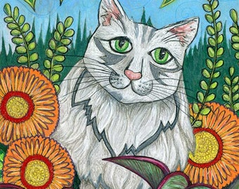 White and Grey Cat - Fluffy Cat Original Drawing - Cat Garden Art - White Cat Drawing - Garden Cat Original Art
