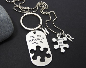 The Love between us will be Forever and Ever Necklace and Keychain Set - Couples Matching Necklace, Personalized Name Initial, Puzzle shaped