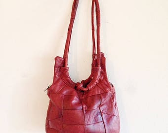Vintage 1970s Soft Leather Patchwork Hobo Bag Boho Purse Hippie Festival Bag