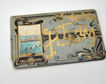 Antique 1916 Art Deco album for poems, signed Merry Christmas from your teacher Miss Slovik, Howard Lake Minnesota