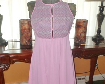Vintage Long Nightgown Nylon Small Sissy Pink Vintage lingerie