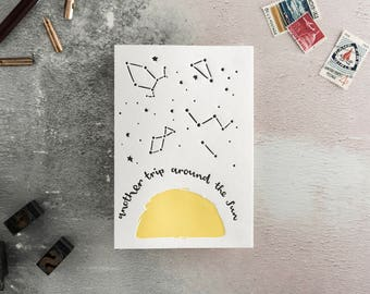 Another Trip Around The Sun Letterpress Birthday Card