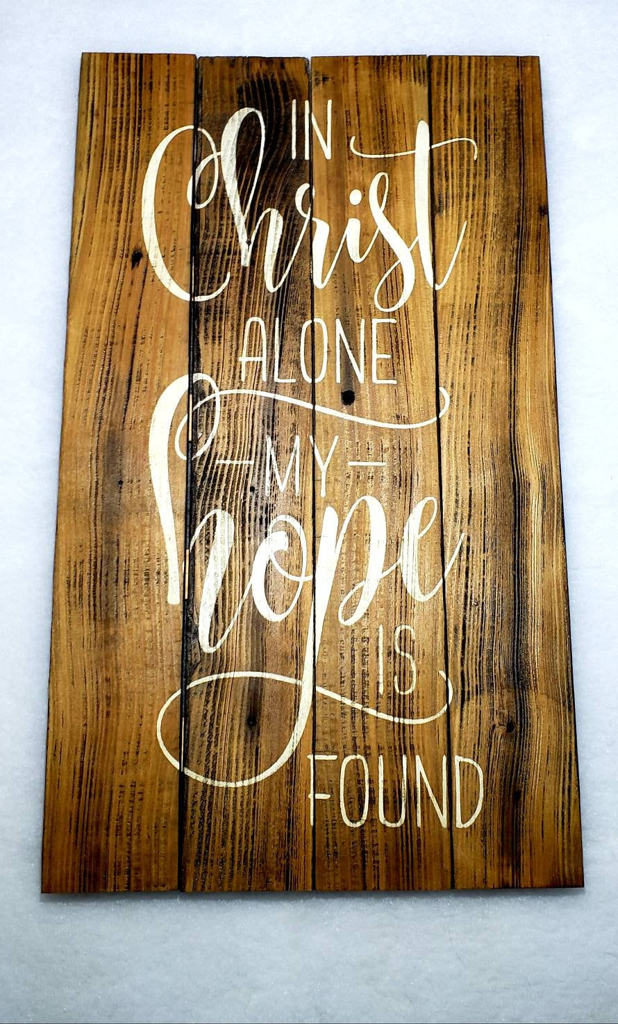 Scripture Wall Decor * FREE SHIPPING * In Christ Alone My Hope Is Found  *Handmade Wall Decor * Rustic Sign * Christian Wall Decor