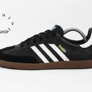 Vintage Adidas Originals Samba sneakers / Womens Kids black white kicks /  Universal Indoor Outdoor shoes